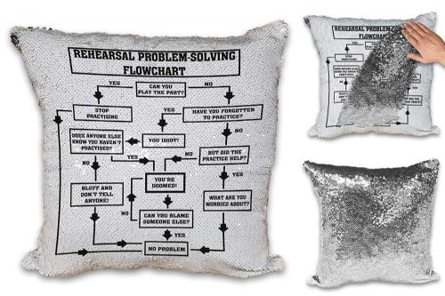 Rehearsal Problem Solving Flowchart Novelty Music Funny Novelty Sequin Reveal Magic Cushion Cover